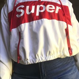 """SUPER"" cropped windbreaker hoodie"